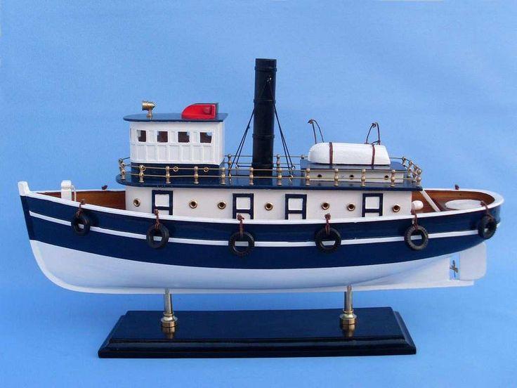 "Wooden Brooklyn Harbor Tug Model Boat 19"""