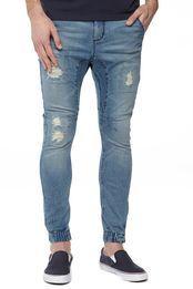 slim denim jogger #91denim #jogger #mens #denim #jeans #elastic #hem