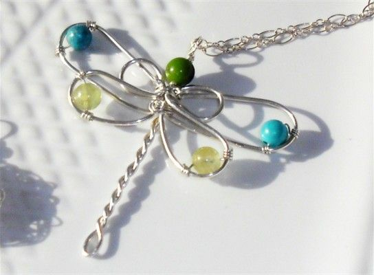 Image detail for -Handmade, 2 inch, wire wrapped Dragonfly Pendant  with turquoise ...