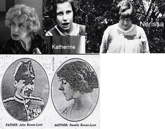 Children of John Herbert Bowes-Lyon - Nerissa Bowes-Lyon (1919-1986) and Katherine Bowes-Lyon (1926-2014). Both daughters were mentally incapacited (exact diagnosis unknown) and were put into mental instituations at a young age.