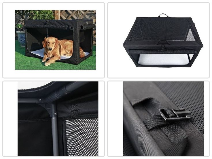 Large Dog Carrier Portable Soft Lightweight Steel Frame Fabric Crate Black | Pet Supplies, Dog Supplies, Dishes & Feeders | eBay!