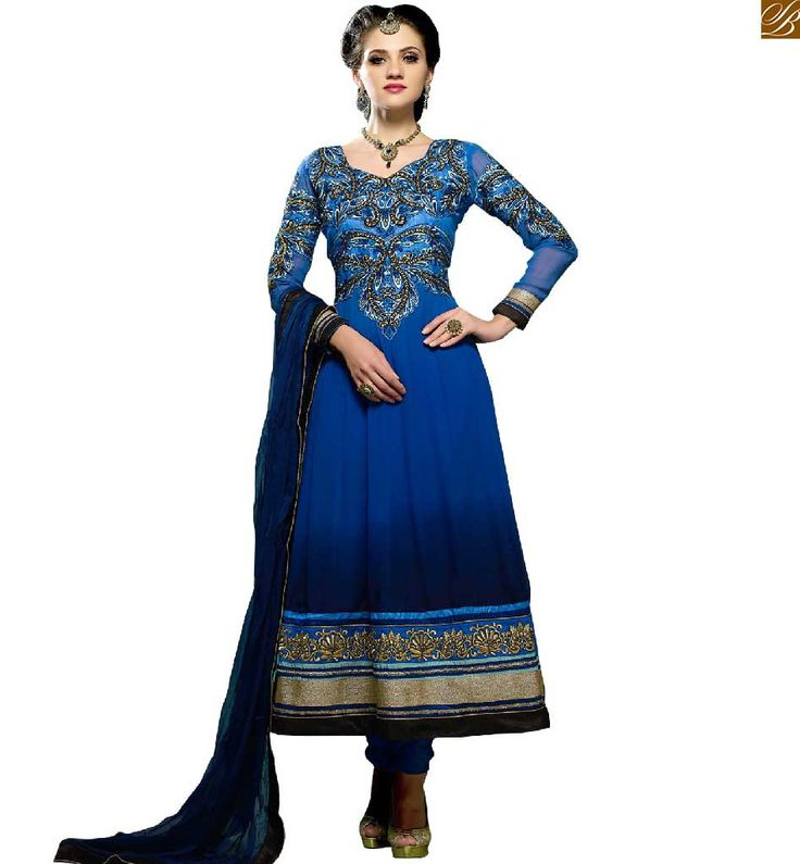 MAGNIFICENT DESIGNER ANARKALI DRESSES COLLECTION AT CHEAPEST PRICE   NICE PATTERNS OF EMBROIDERY ON BLUE GEORGETTE PARTY WEAR LONG FROCKS SUIT ONLINE SHOPPING