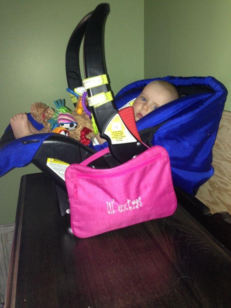 Love this idea!  Great for moms, moms to be or a shower gift!  Moms hate carrying your diaper bag when you just need to run in quick, This is perfect!! Attaches right to the car seat and is large enough to hold a wipes container, diaper, pacifier, a small toy or two.