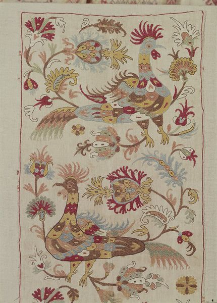 Embroidery in silks on linen, detail