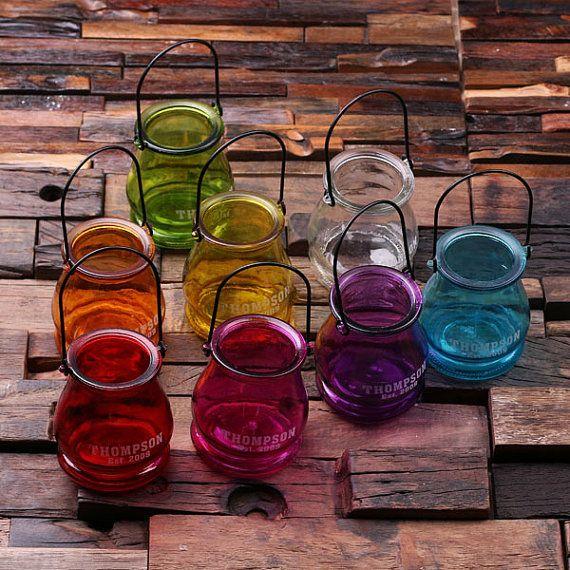 Set of 4 Personalized Etched Lantern Mason Jar Tea Candle Holders Wedding Decoration Centerpieces