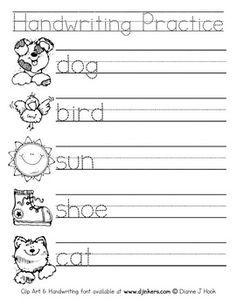 math worksheet : 17 best kindergarten worksheets images on pinterest  kindergarten  : Handwriting Worksheet For Kindergarten