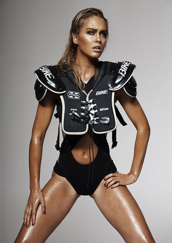 First Down by Emily Abay Stars a Sweaty Steph Smith #football #fashion trendhunter.com