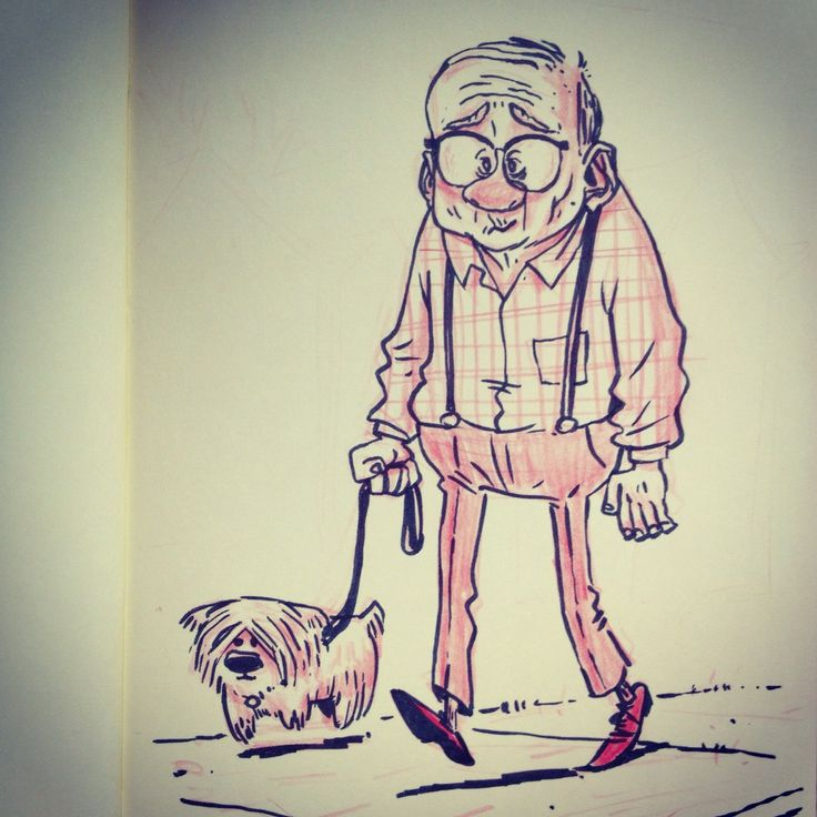 little old man and his dog