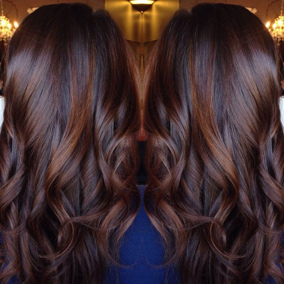 Balayage On Dark Brown Hair | Dark red brown black balayage hairstyle