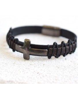 Ανδρικό Βραχιόλι Black Leather & Gunmetal Cross