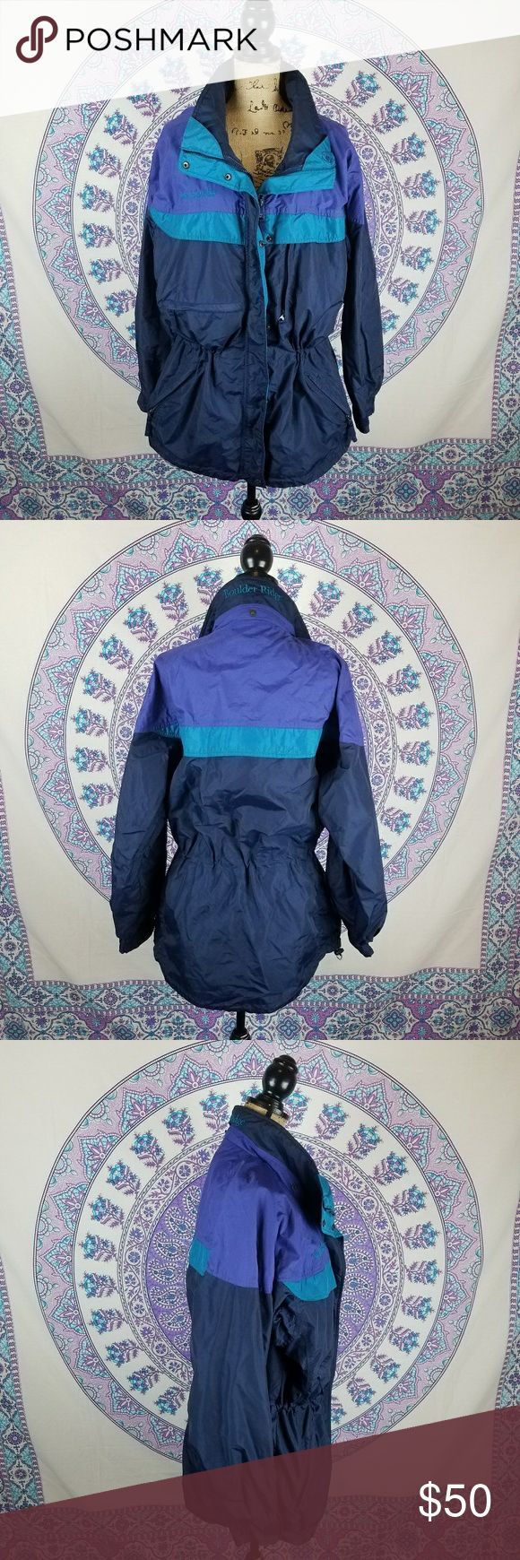Vintage women's Columbia ski jacket Vintage women's Columbia ski jacket, size women's large, slight tear next to zipper but the zipper still works, missing hood, 2 breast pockets, cinched at waist, hook in pocket for ski lift ticket Columbia Jackets & Coats