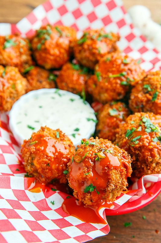Cheesy Buffalo Mushroom Poppers - I would get this appetizer at every opportunity.