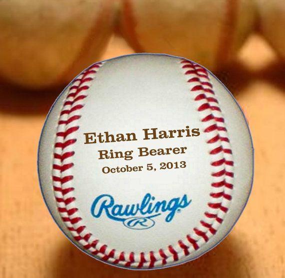 2 Personalized Ring Bearer Baseballs, Engraved Groomsmen and Best Man Gift, Wedding Keepsake
