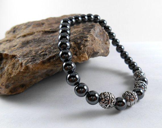 MENS Hematite Stretch Bracelet  Tibetan Beads  by ReadyByDawn, $25.00