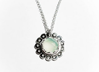 Silver Daisy Mae Pendant with Rose Cut Blue Chalcedony