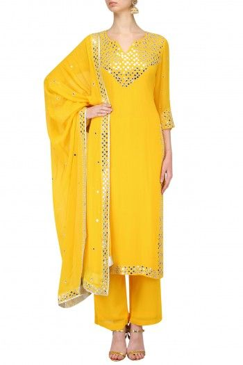 Surendri by Yogesh Chaudhary Yellow Embroidered Kurta with Palazzo Pants #happyshopping #shopnow #ppus