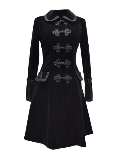 Black Chinese Style Gothic Long Coat for Women - Devilnight.co.uk