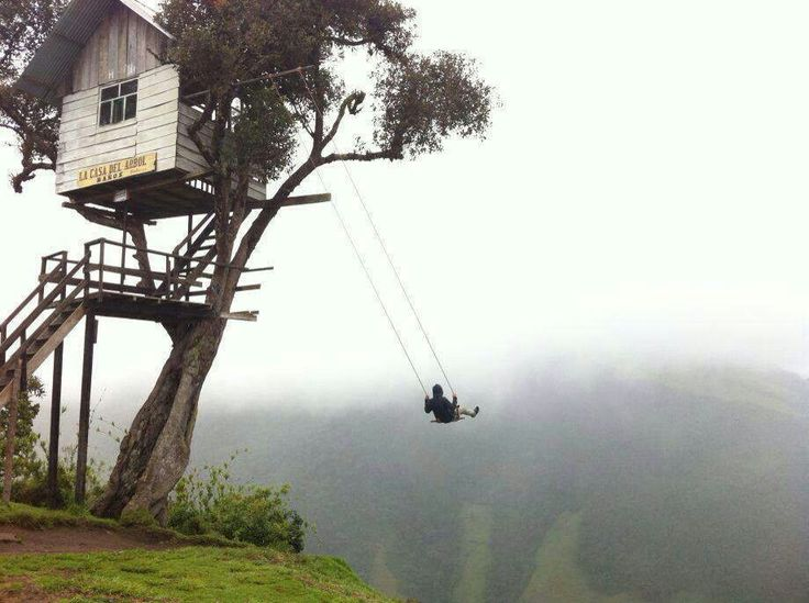 It's called the Swing At The End Of The World and it's a tourist attraction unlike any other. It's a swing that takes you on a ride over a cliff in Ecuador.