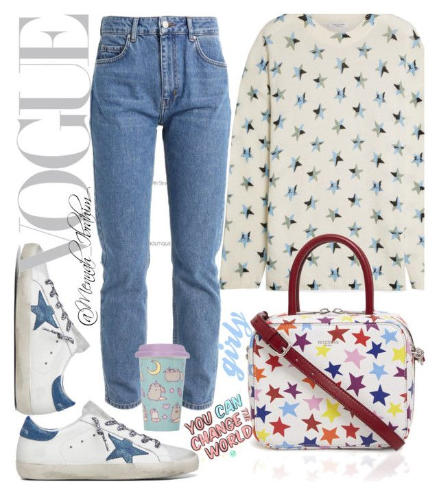 """""""#Casual #Girly #Stars"""" by mennah-ibrahim on Polyvore featuring Golden Goose, Equipment and Pusheen"""