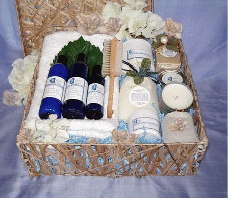 Hang In There Spa Gift Basket: Keep up the positive thoughts and just relax. You deserve a couple of hours at the spa... create your own at home with this luxurious collection of natural bath and body products. Just close the bathroom door, light the aromatherapy candle and listen to soothing music. Exfoliate and purify your skin with the amazing sea salt body scrub and French Green Clay Mask.  http://www.blissfulbalance.com/hang-in-there-spa-gift-basket/