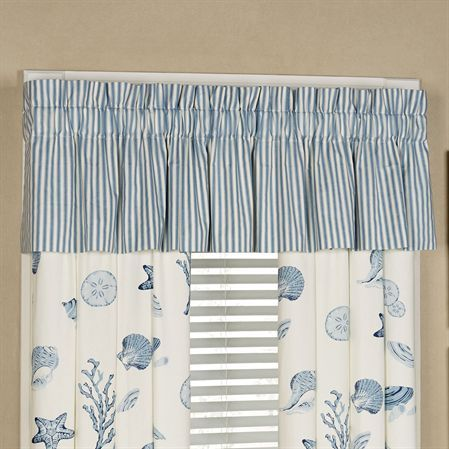 Treasures By Sea Gathered Valance Dusk Blue 80 x 15