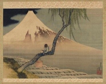 1897–98: Freer's collection grows significantly as he purchases many Chinese and Japanese ceramics and Japanese paintings. He also purchases 276 works by American artist James McNeill Whistler, mostly etchings and drawings from the Haden Collection.  Boy Viewing Mount Fuji; Katsushika Hokusai 葛飾北斎 (1760–1849); Japan, Edo period, 1839; hanging screen, ink and color on silk; Gift of Charles Lang Freer; F1898.110