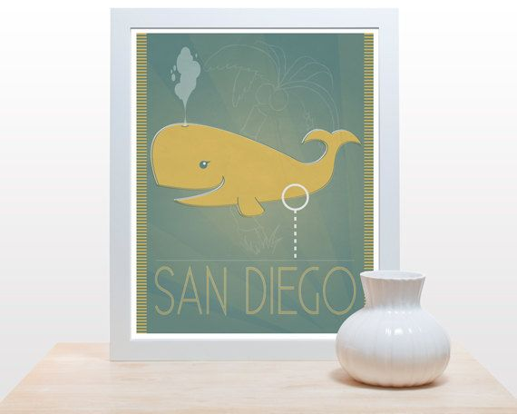 San Diego Whale - 11x14 Print Anchorman movie inspired yellow funny humorous teal art minimal print on Etsy, $27.00