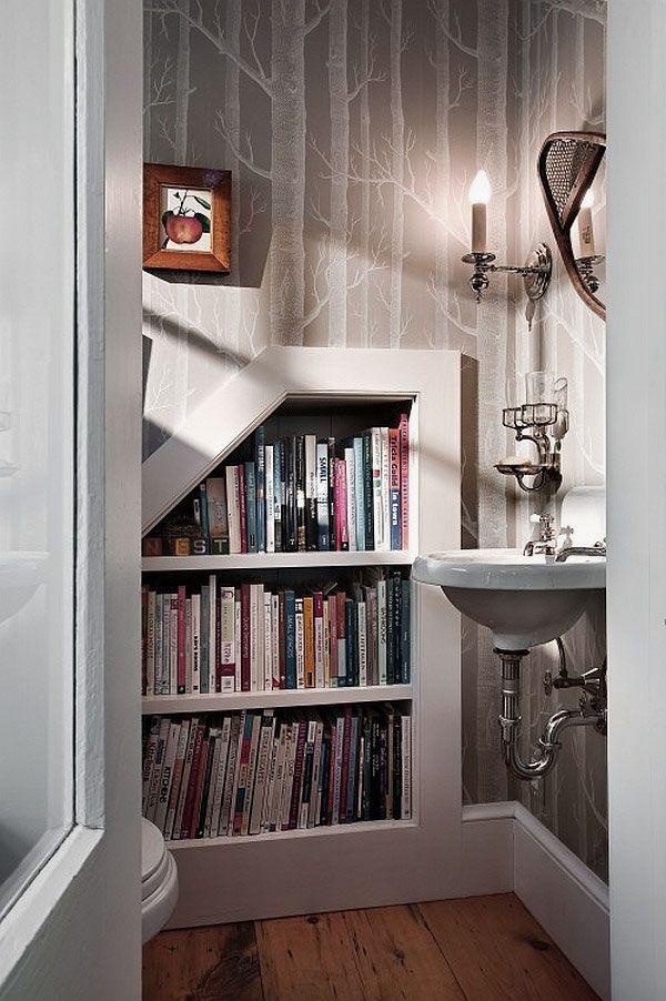 Book Storage beside toilet
