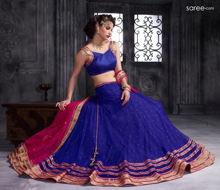 #Navratri Special Blue Net Lehnega Choli For Garba #Dandiya