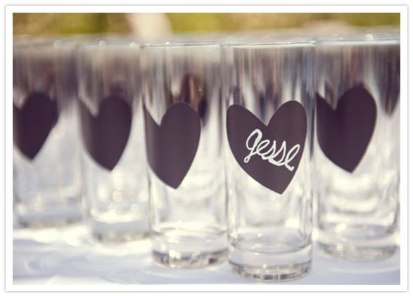 Chalkboard painted drinking glasses: helps keep track of guests' glasses, and becomes a gift to take home!