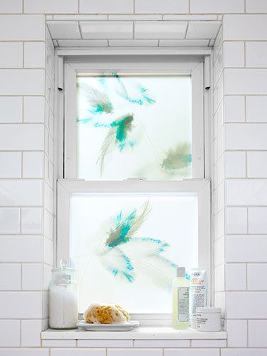 Great Ideas For Adding Bits Of Flare To Your Home. The Decorative Window  Films Are Fantastic. This Is Great For A Blue Bathroom!