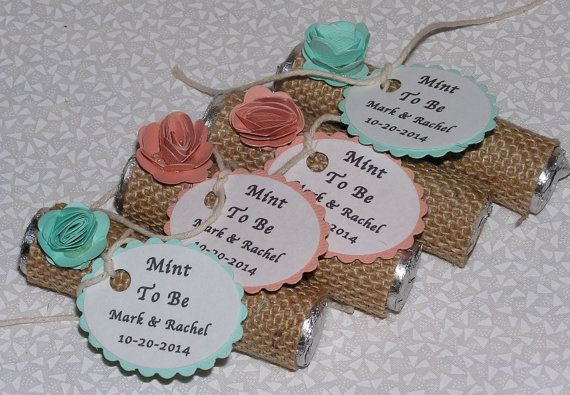 wedding favors Mint Green and Coral wedding shower favors