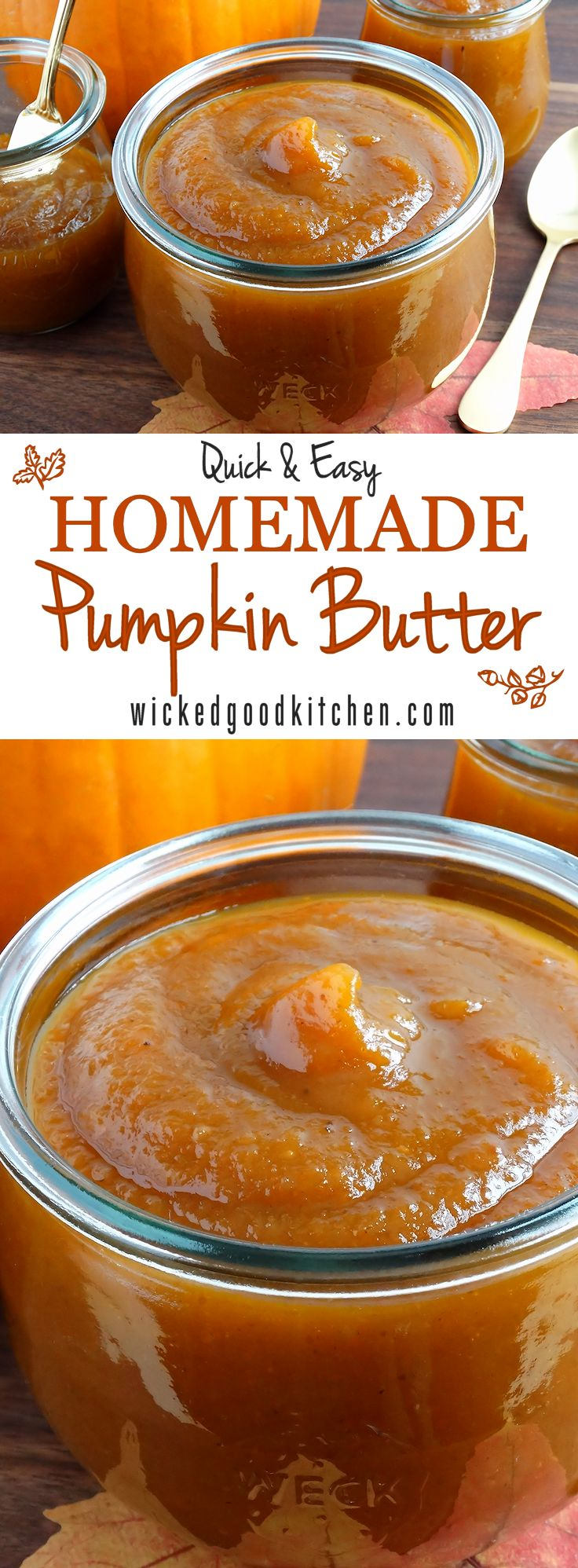 Make your own pumpkin butter - Bright flavor notes from apple juice or cider and a touch of fresh lemon and sweetened and spiced just right. (Fall, pumpkin, holiday desserts, recipes) | Repinned by Itzy Ritzy
