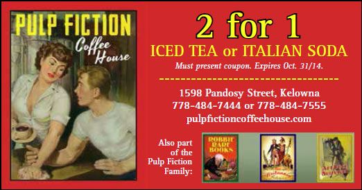 Pulp Fiction Coffee House - in Downtown Kelowna at the corner of Pandosy Street and Lawrence Avenue