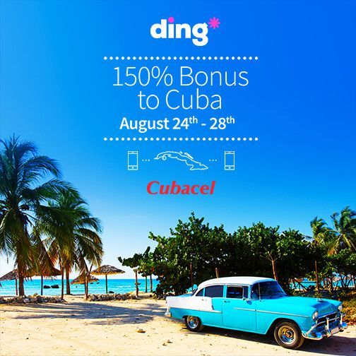 Top-up any Cubacel number and get more than a double bonus on all top-ups.   To get the best value send $82USD and get 200CUC.  Offer valid from the 24th until the 28th of August (Cuban Time).  Bonus amount expires on the 31st of October 2015