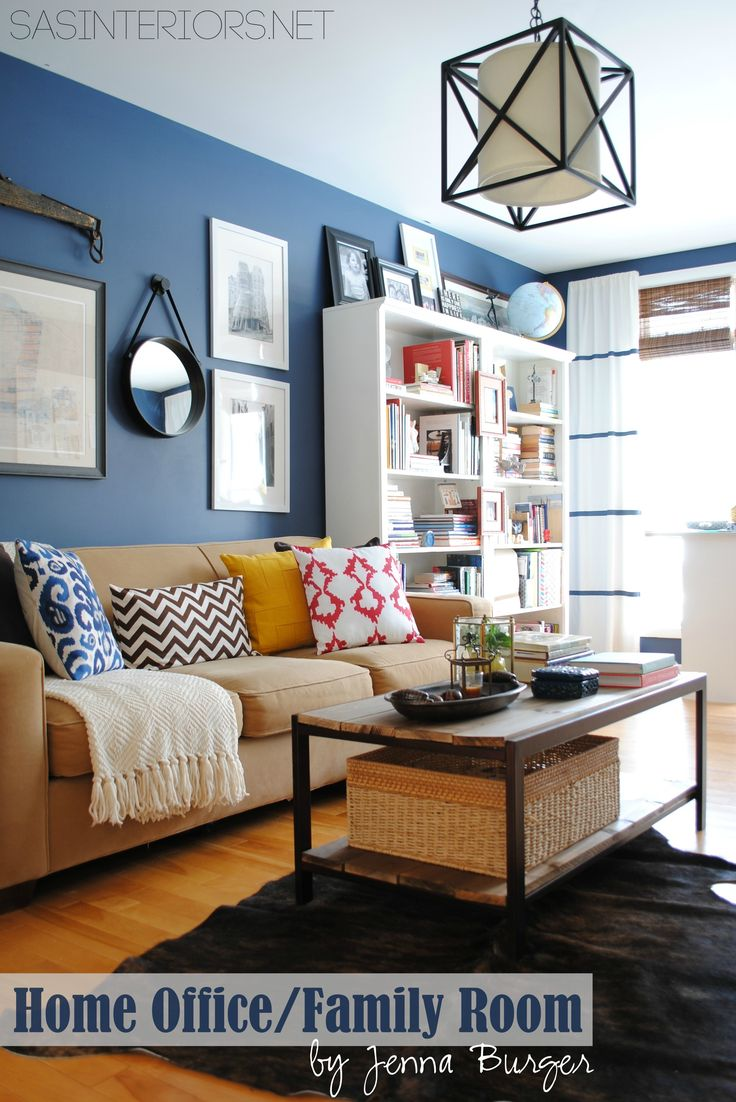 Love this Home Office / Family Room Reveal with Navy walls & Yellow accents {before & after} by @SAS Interiors Jenna Burger