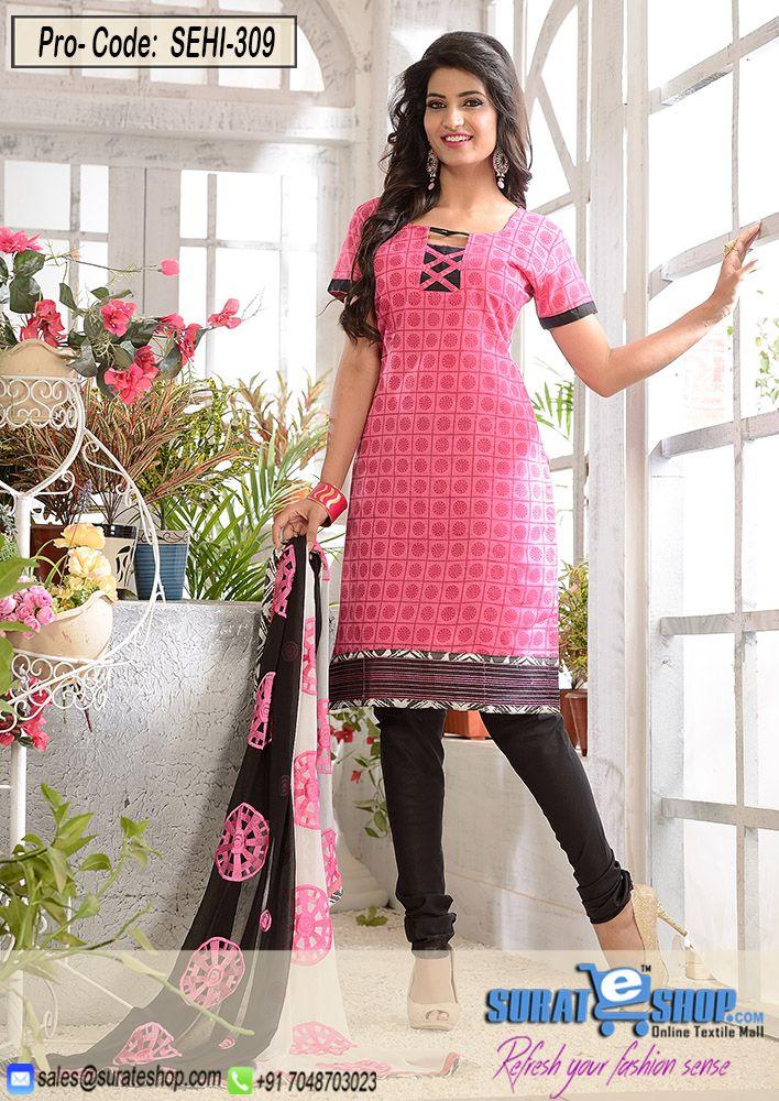 Hot Pink & Black Salwar Kameez, Top:Fabric Chanderi,Botton:Fabric Santoon,Dupatta:Nazmeen and fancy work   Visit: http://surateshop.com/product-details.php?cid=2_27_44&pid=11901&mid=0