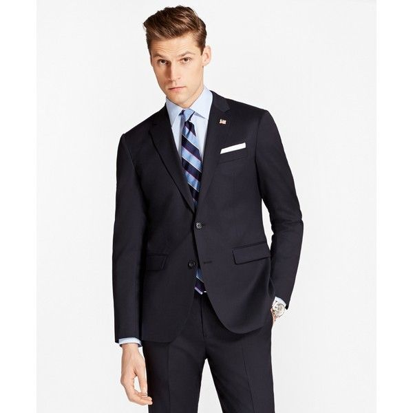 Brooks Brothers Milano Fit Two-Button 1818 Suit (13.496.955 IDR) ❤ liked on Polyvore featuring men's fashion, men's clothing, men's suits, navy, mens navy suit, merino wool mens clothing, brooks brothers mens clothing, brooks brothers men's suits and mens wool suits
