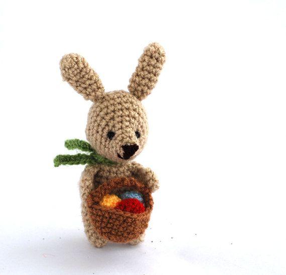 $23.48 #MINIATURE #BUNNY, #tiny #bunny #with #Easter #basket, #crocheted #rabbit, #amigurumi #tiny #bunny, #little #bunny #doll, #home #decor, #Easter #decoration