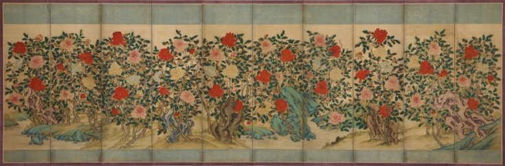 The Peony Screen. The peony among ancient Orientals has been known as a symbol of wealth. The Peony also drawn separately, but only to draw with rock, plum, orchid, chrysanthemum and bamboo, the Four Gracious Plants (四君子) and was painted to harmonize. The peony is a symbol of the king, because the peony has been recognized as the king of flowers.