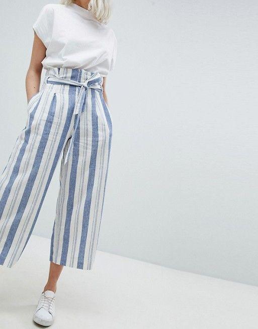 7546573e604f Pull&Bear Paper Bag Waist Linen Wide Leg Pants | Women's Fashion | Wide leg  linen pants, Pants 및 Wide leg pants