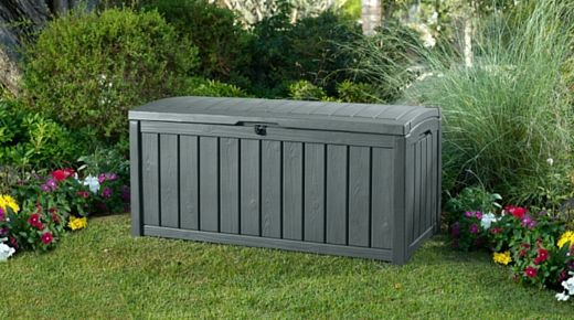 The Glenwood wood-look deck box is ideal for the storage of large cushions, garden equipment, pool supplies, or whatever else that you may want to stash away safely outside.   http://za.keter.com/products/sa-store-glenwood