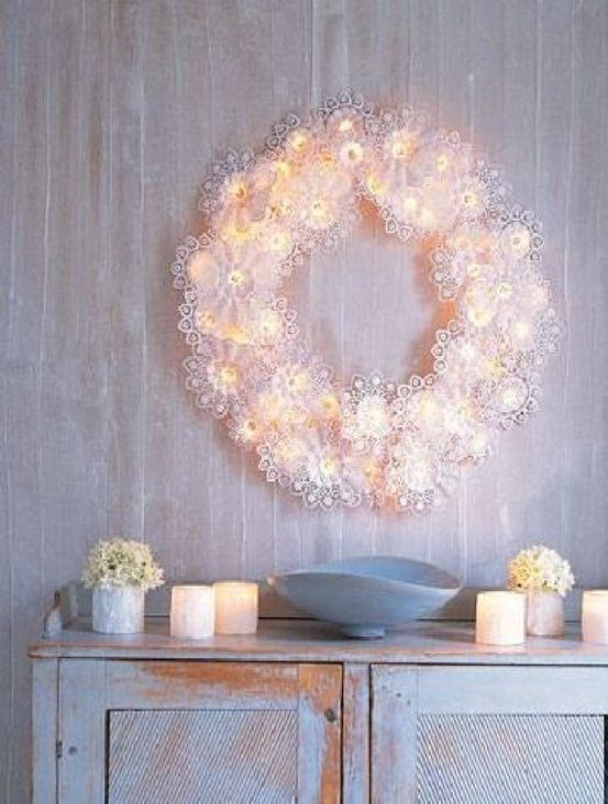 Paper-Doily Snowflake Wreath - 23 Great DIY Christmas Wreath Ideas