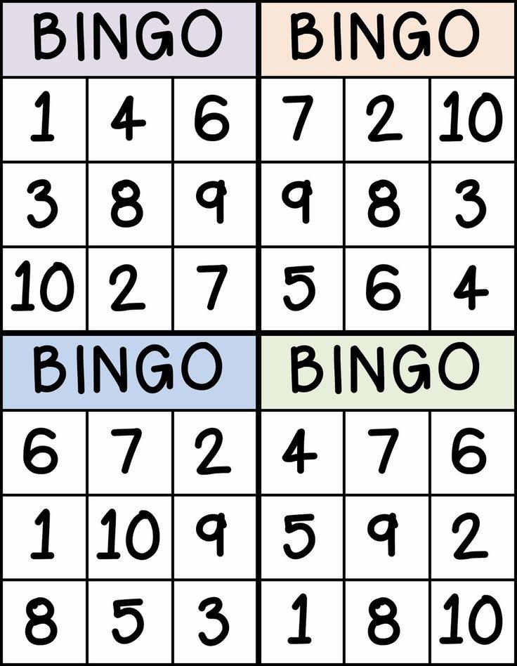 Printable Number Bingo 1 20