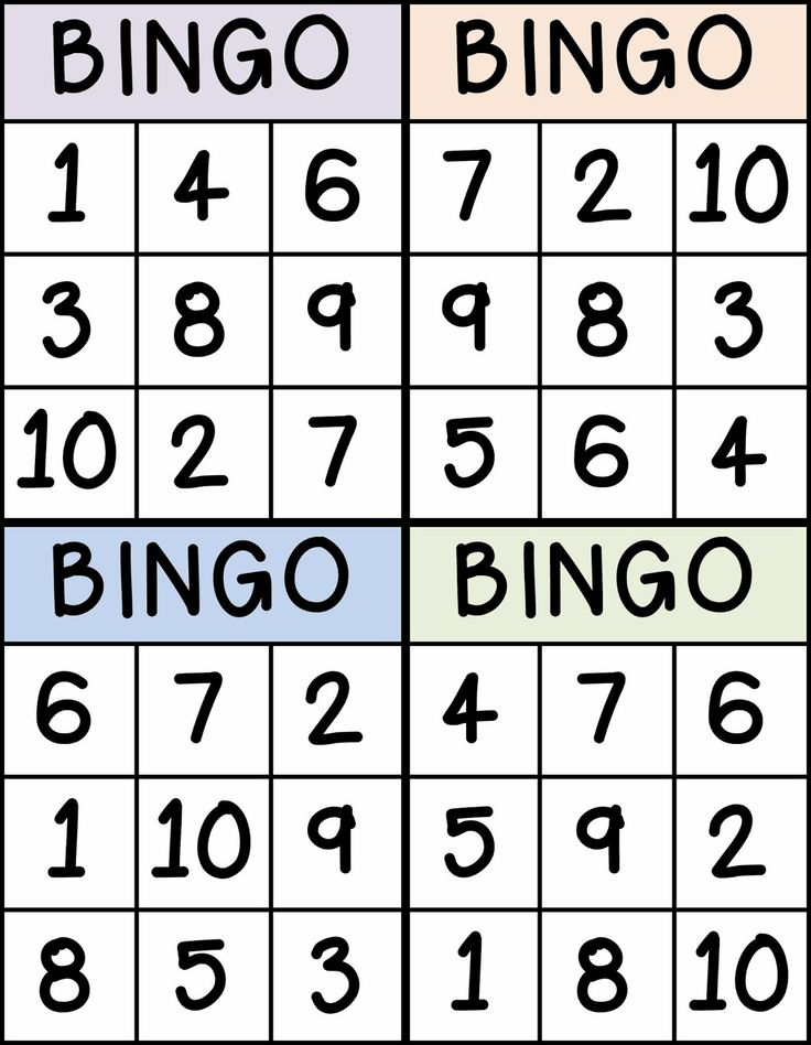 Bingo for Numbers 1-10. Great for preschool number identification.