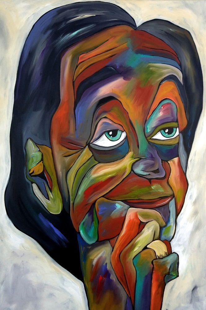 WISDOM Original Abstract painting HUGE pop Modern Face