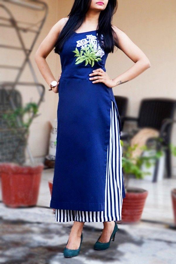 98923c92e1 Blue Cotton Sarton Embroidered Kurti #kurti #indian #embroidery #floral  #blue #colorauction #fashion