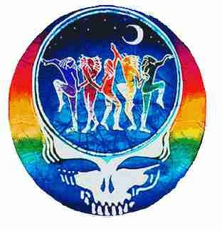 "Grateful Dead - Dance Your Face Off Sticker - $4.00  This Grateful Dead Steal Your Face Sticker has dancers in the middle on a batik styled background. It measures 5"" round and is official Grateful Dead merchandise.  Be sure to check out our t-shirt and hoodie with the same design."