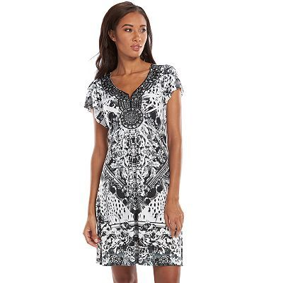 I bought this in a x small and it's so beautiful especially with curves and cute wedges❤...Apt. 9® Sublimation Crochet A-Line Dress