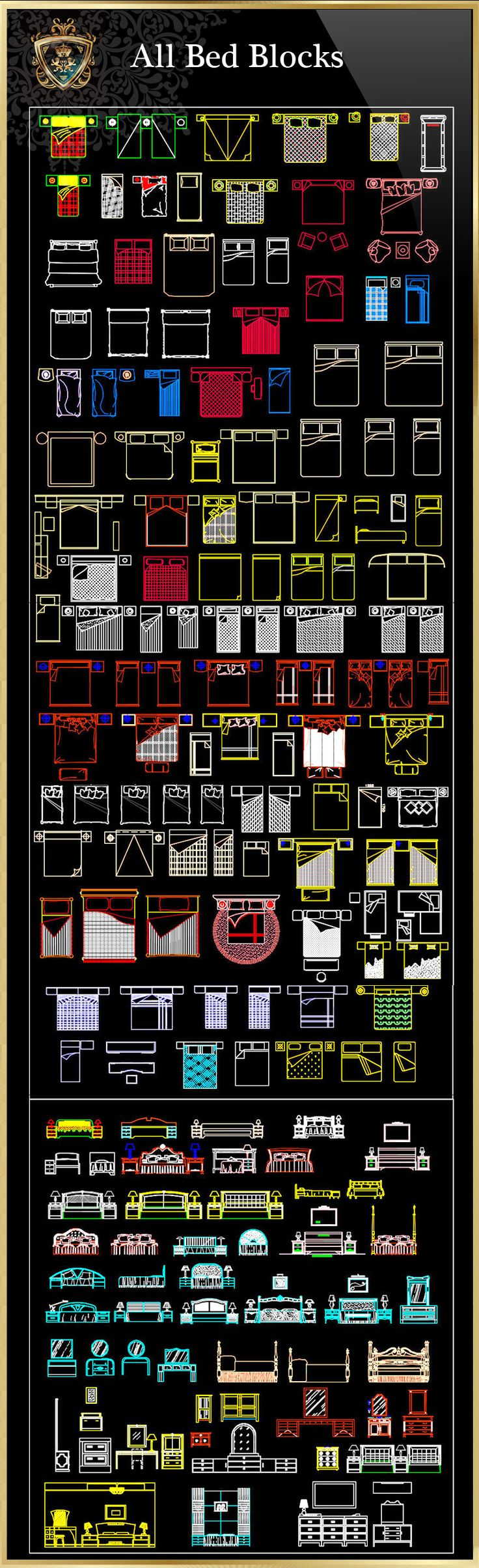 ★【All Bed Blocks】Download Luxury Architectural Design CAD Drawings--Over 20000+ High quality CAD Blocks and Drawings Download!